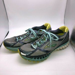 Brooks Ghost Womens Gray Blue Yellow